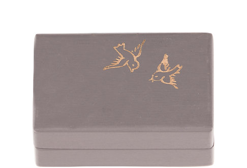 "KEEPSAKES BOX grey ""Bird"""