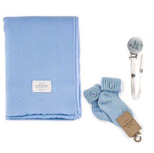 Handwoven BLANKET SET 3 pcs blue