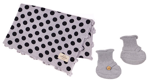"CASHMERE BLANKET DOTS & SOCKS 2 pcs""grey-hand crochet"""