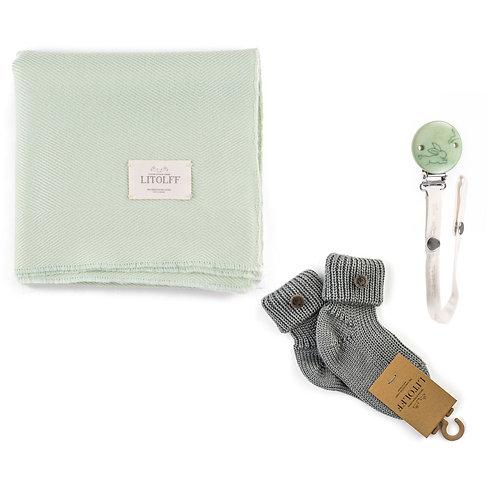 Handwoven BLANKET SET     3 pcs green