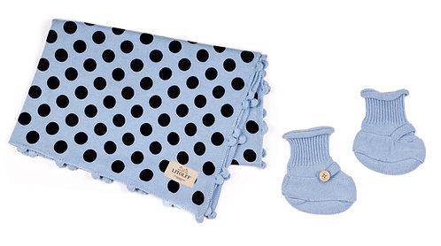 "CASHMERE BLANKET DOTS & SOCKS 2 pcs""blue-hand crochet"""