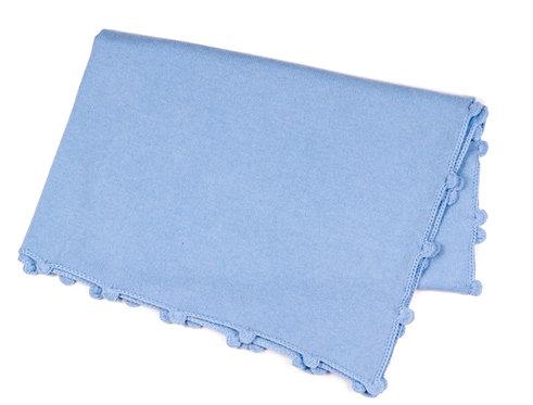 "CASHMERE BLANKET ""blue-hand crochet"""