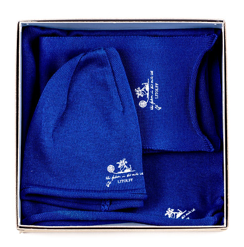 "CAP & SCARF & SHAWL ""royal blue"""