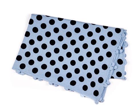 "CASHMERE BLANKET DOTS ""blue-hand crochet"""