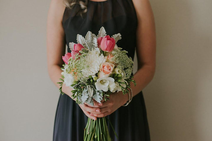 wedding bouquet - tulips - roses - pink - grey