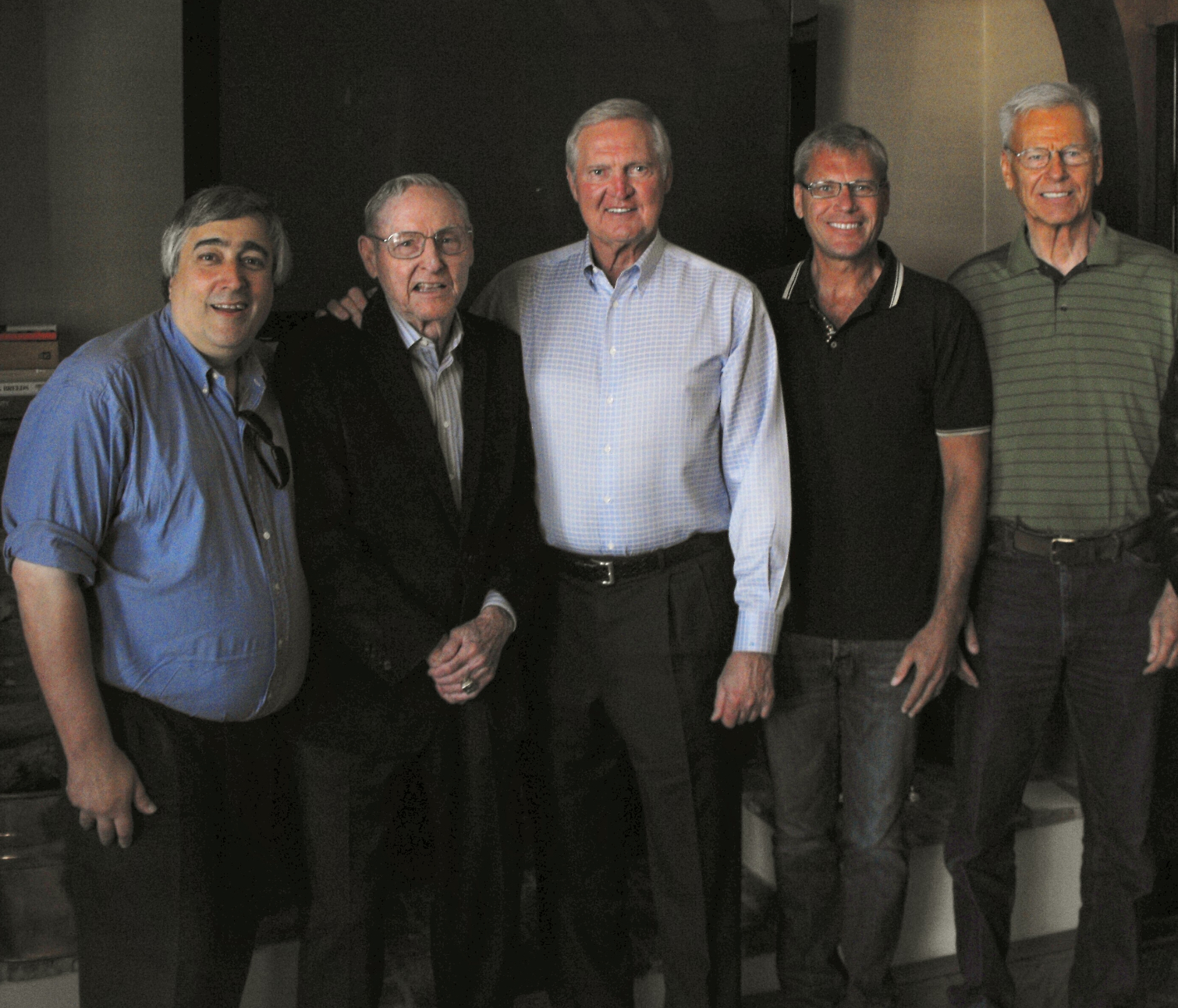 Elliott, Jerry West, Bill Sharman & crew