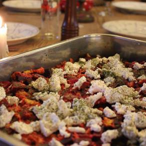 Frittata met rode biet en geitenkaas