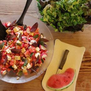 Frisse salade met Geta en watermeloen