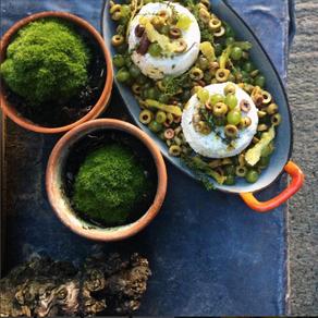 Ricotta uit de oven met druiven & olijven