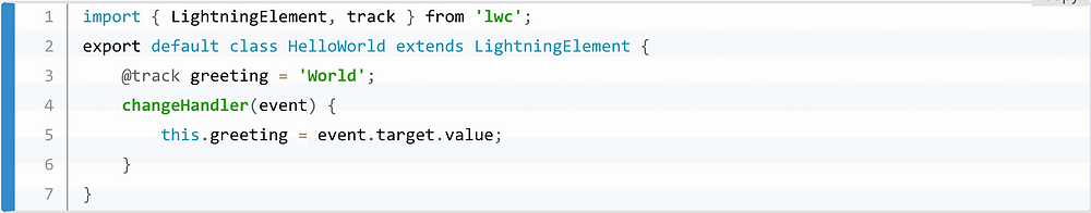 A Javascript handler used in a Lightning Web Component