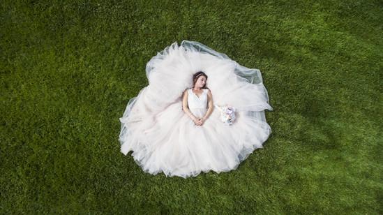 Aerial photo of bride
