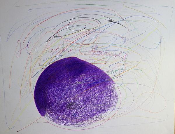 Je veux danser, formes violette, crayons