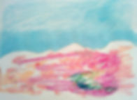 paysage rose ciel bleu 14,7 cm x 19,5 cm