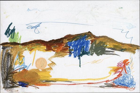 paysage couleur , crayons de couleur, cr