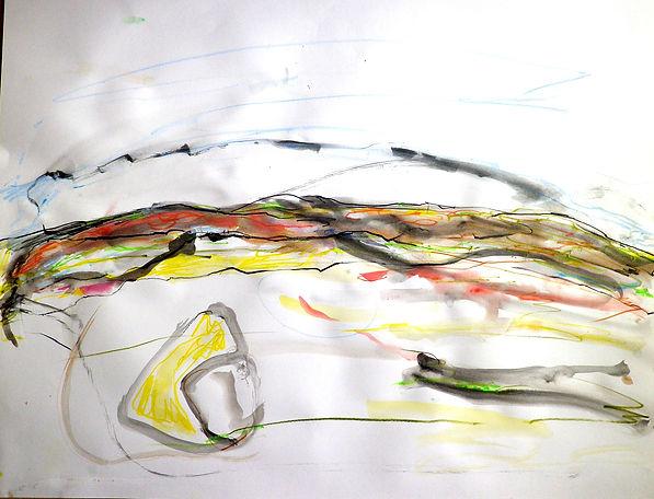 Paysage abstrait, forme, aquarelle, cray