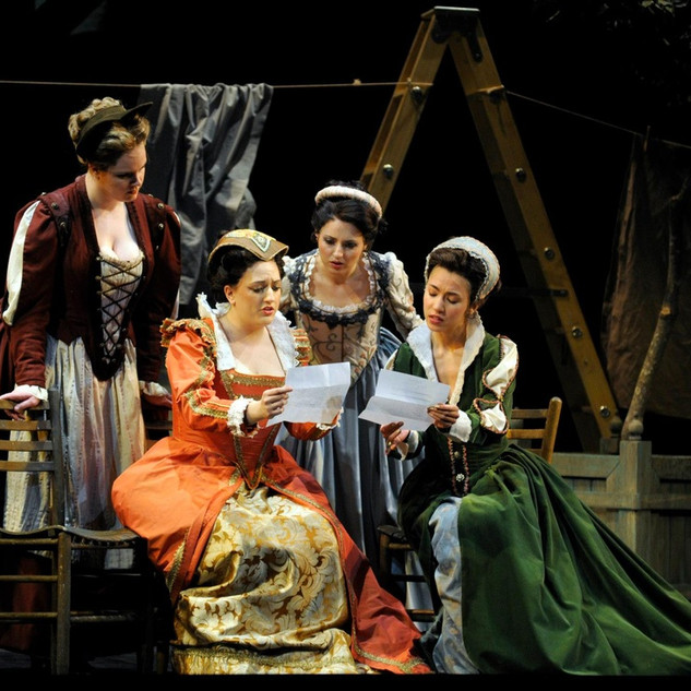 As Alice Ford in Falstaff, with Ashley Stone, Katherine Polit, and Anna Hashizume