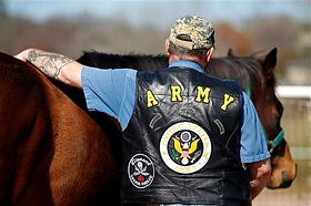 Army Veteran with a horse in Equine Assisted Therapy