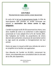 Avis public - Vaccination des chiens contre la rage obligatoire