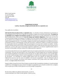 Communiqué COVID-19 - 21 septembre 2021