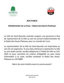 Avis public - Représentant de la Ville - Radio des Hauts-Plateaux