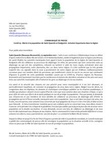 Covid-19 : Alerte à la population de Saint-Quentin et Kedgwick : éclosion importante dans la région
