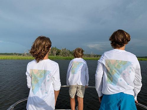 Youth UV shirt long sleeve Nautical Ogeechee River chart