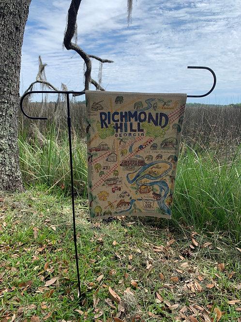 Yard flag Burlap Richmond Hill watercolor