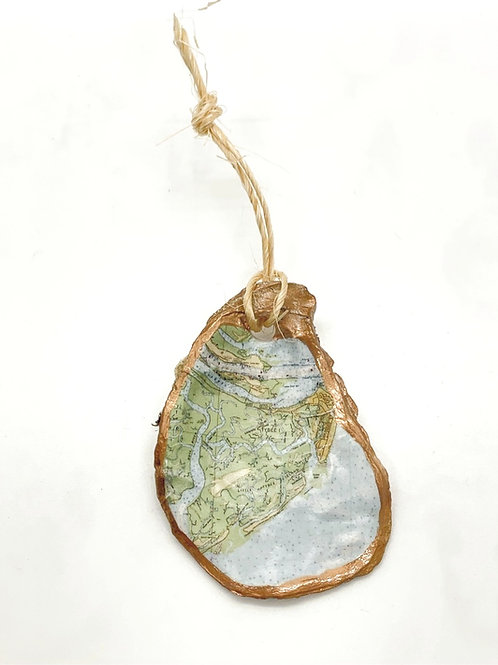 Tybee nautical map Oyster shell ornament