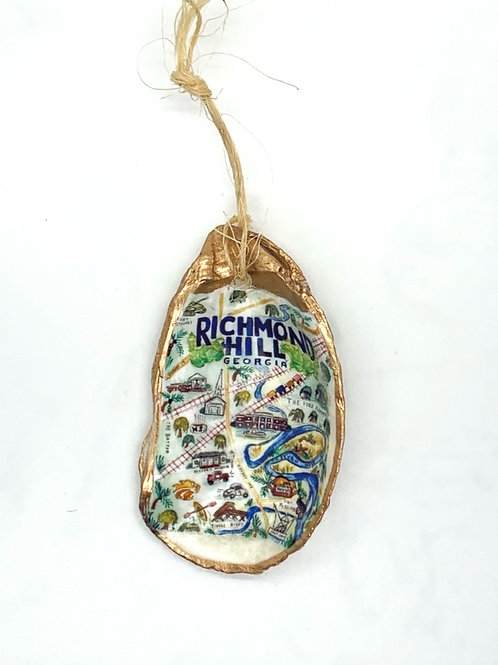 Richmond Hill watercolor oyster shell ornament