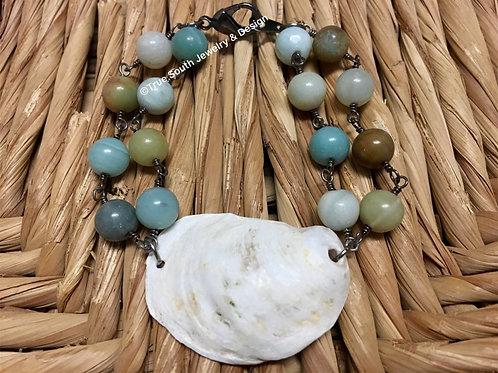 Double Amazonite Oyster Bracelet
