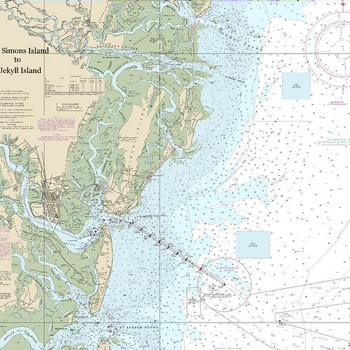 UV shirt long sleeve Nautical St. Simons/Jekyll Island chart