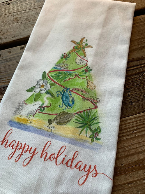 True South coastal Christmas tea towel