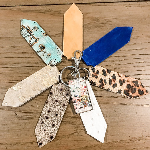 Pointed Tab Keychain with leather or hair on hide with pendant