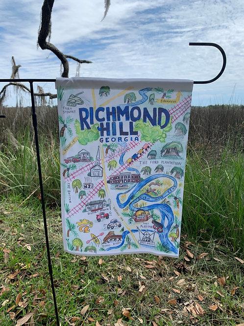 Yard flag white Richmond Hill watercolor