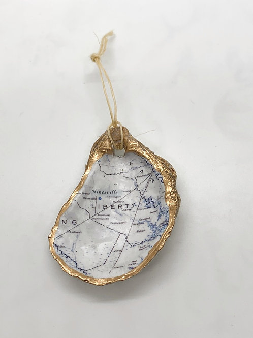 Hinesville Map Oyster Shell Ornament
