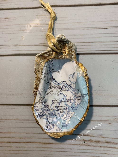 Savannah map oyster shell ornament