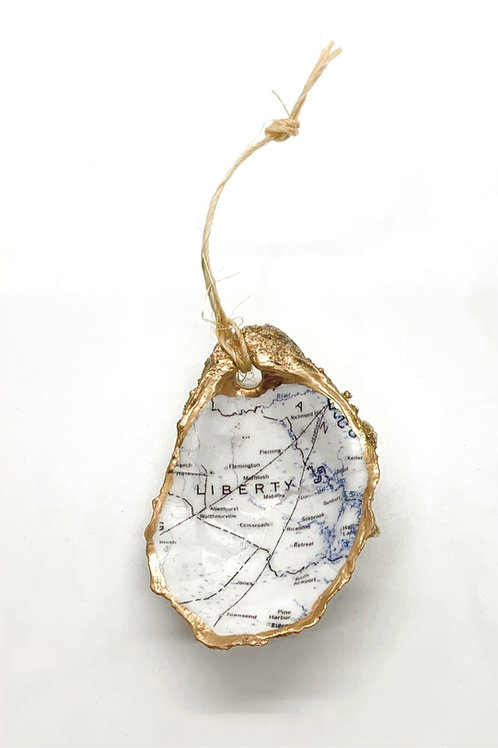 Liberty County Map Oyster Ornament