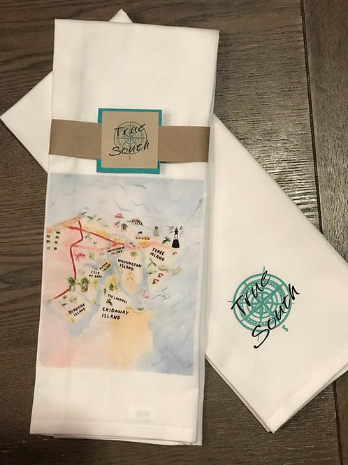 Tea Towel-Savannah Islands Map