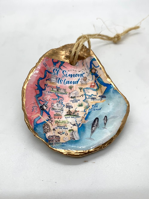 St. Simons watercolor Oyster shell ornament