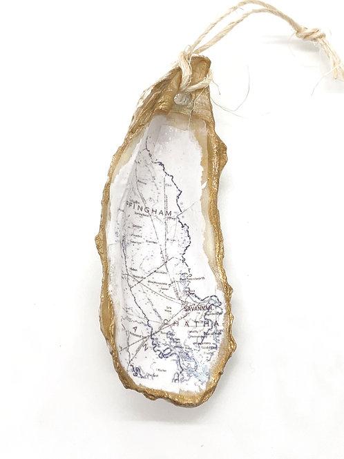 Effingham map oyster shell ornament
