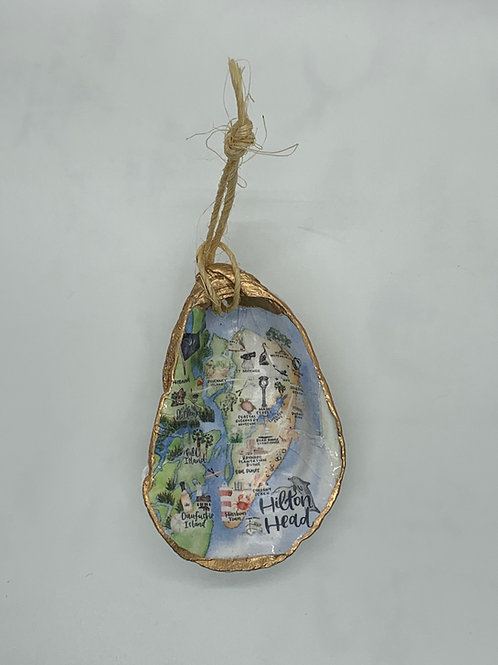 Hilton Head, SC watercolor Oyster shell ornament