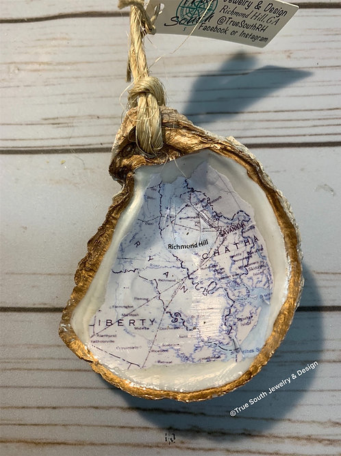 Richmond Hill map oyster shell ornament