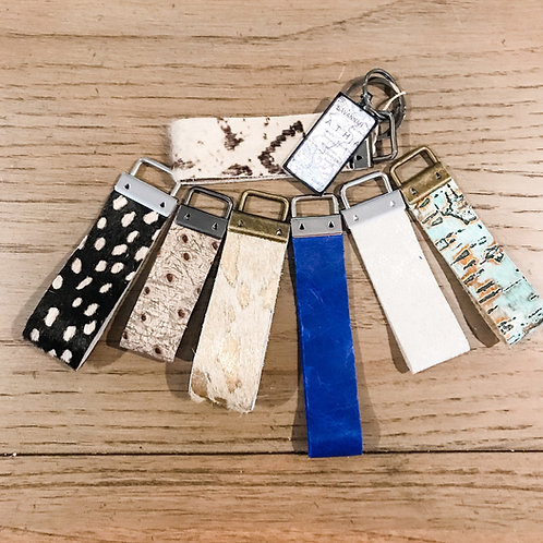 Strap Keychain with leather or hair on hide with pendant