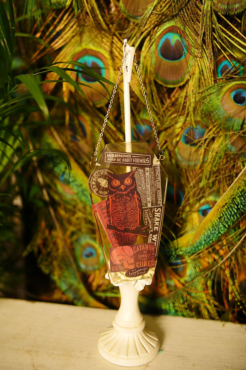 Vintage Halloween Owl Coffin Wall Hanger/Sun Catcher