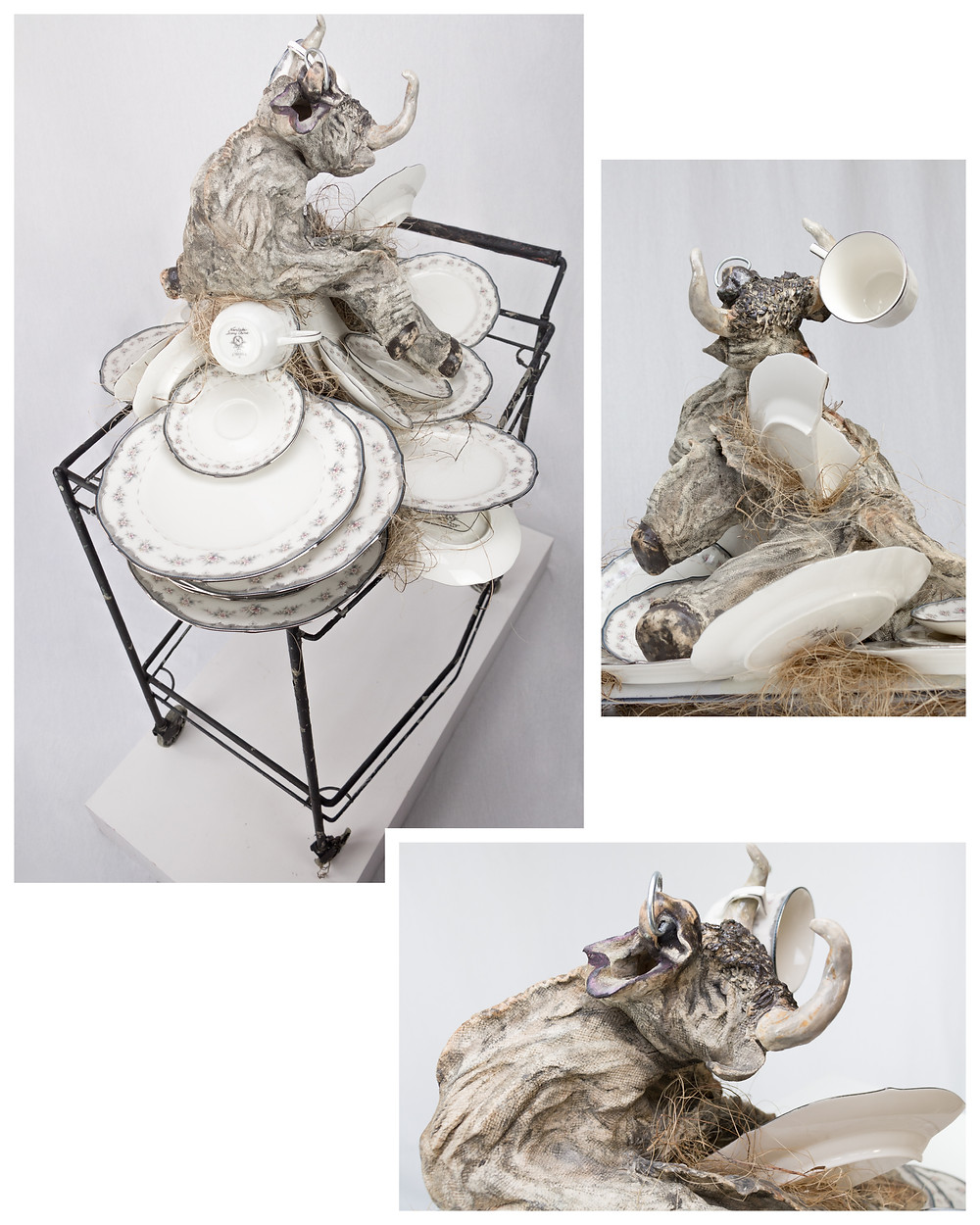 Handle With Care 46 x 32 x 47 in Medium: high-fired ceramic, found cart, artists wedding china