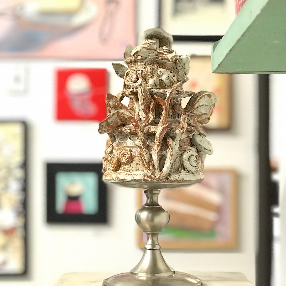 "Nature Cake: 12 x 7 x 7"" ceramic, found objects"