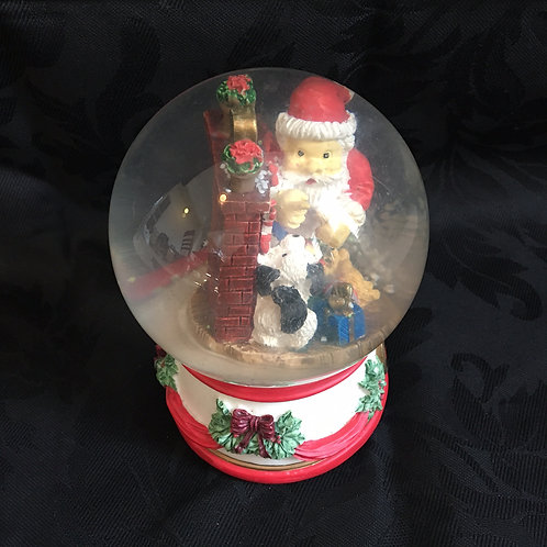 Small Musical Snow Globe-Santa by the Fireplace