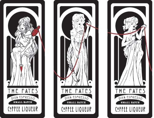 The Fates Coffee Liqueur Labels