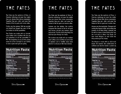 The Fates Coffee Liqueur Backs