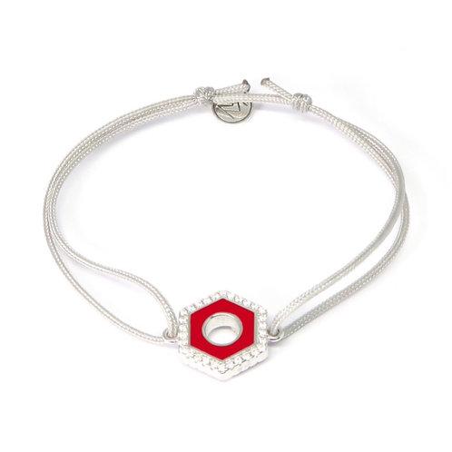 """Bracelet émaillé serti collection """"Ecrou"""" rouge turquoise"""